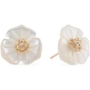 14k Solid Gold Mother is Pearl Flower Earrings